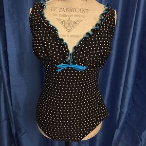Black and White Polka Dot One Piece Swimsuit Sz 16